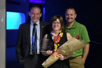 Bob Price, Jeanie Price and Brad Hoffman as Price wins ACE award at CPA FMA.
