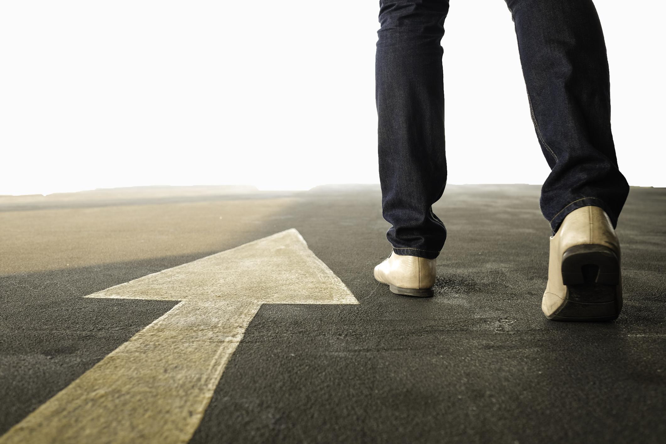Concept of a man follows the right way