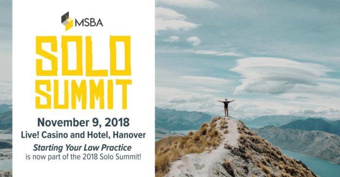 Mark Your Calendar: MSBA's 2018 Solo Summit is Nov. 9