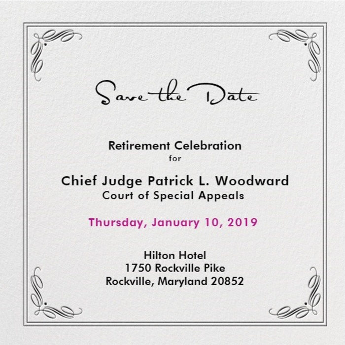 SAVE THE DATE: Retirement Celebration for CoSA Chief Judge Patrick L. Woodward