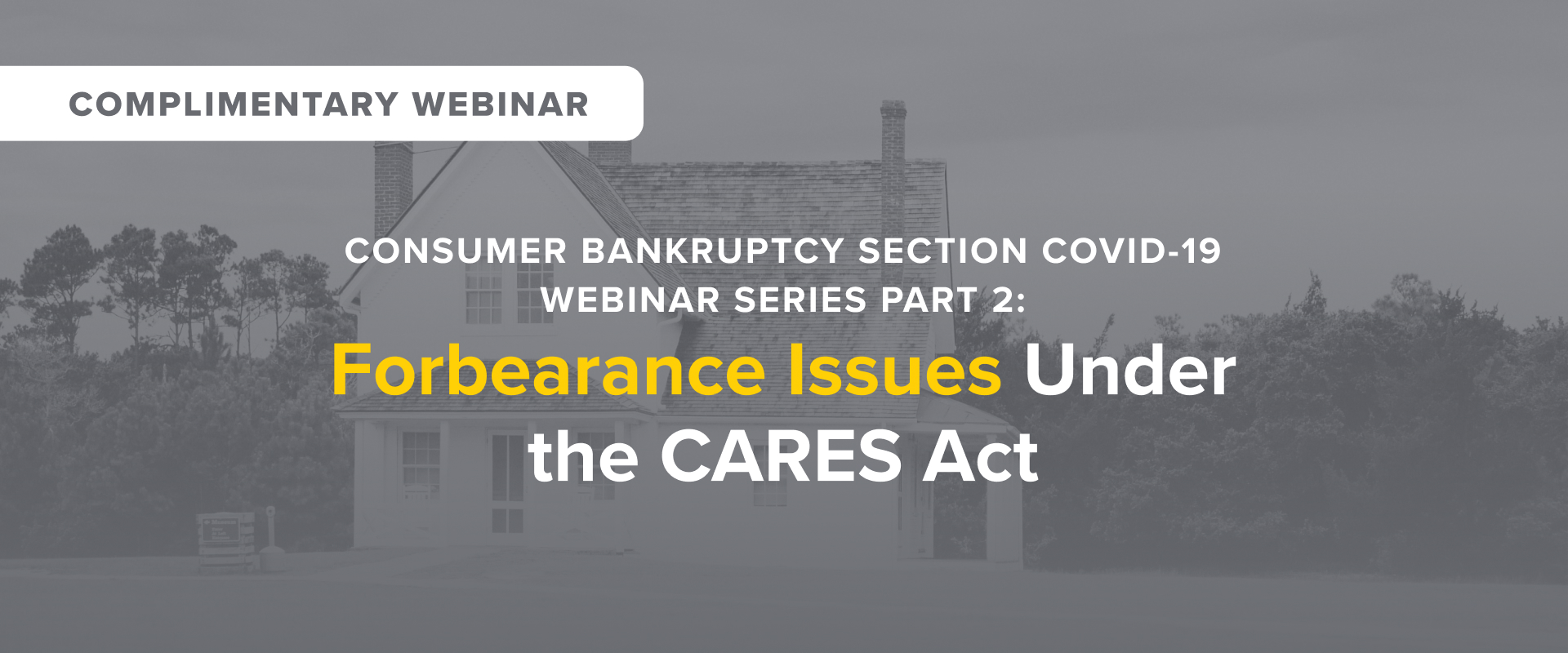 Consumer Bankruptcy Section Covid-19 Webinar: Forbearance of Student Loans and Mortgages Under the CARES Act